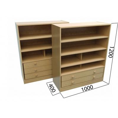 KLASIK skříň se dvěma podélnými zásuvkami a třemi policemi