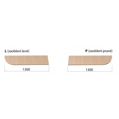 Lavička s roštem délky 1300 se zaoblením vlevo přírodní