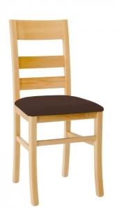 Učitelská židle buková s čalouněným sedákem, tmavě hnědá
