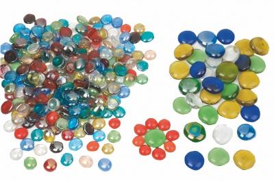 Skleněné nugety perleťové cca 220 ks o vel.1,5-2 cm