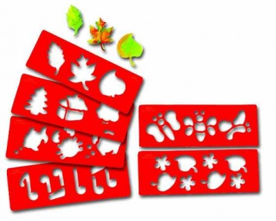 Šablony- set 6 ks 10,5x30 cm (listí,motýl,kvítí,noty,domek,rybka)