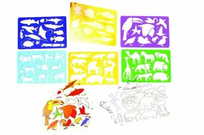 Šablony zvířátka- set 6 ks+6ks předloh 29x21 cm