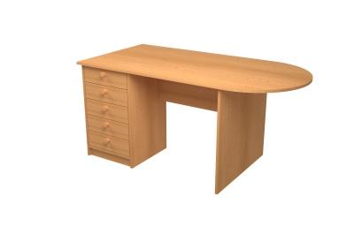 Učit. stůl velký se zásuvkami př., zaoblení vpravo