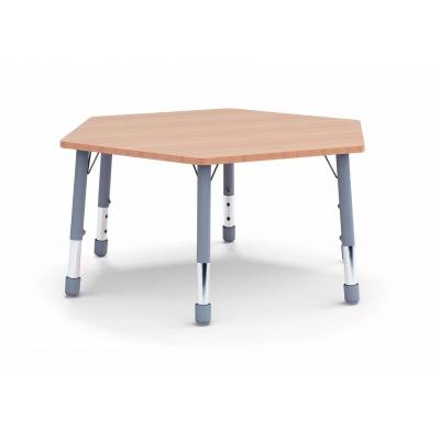 Stůl šestiúhelník  průměr 117 / v. 59 - 71 cm