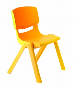 Plastová židle, v.38 cm, žlutá