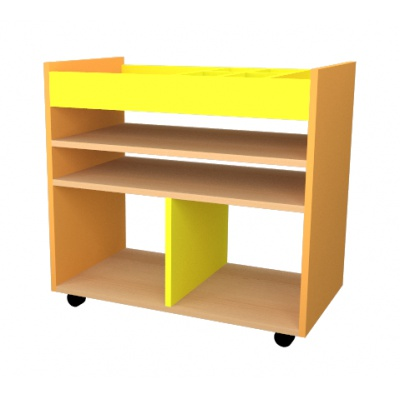 Mini výtvarný vozík žluto/oranž, police buk