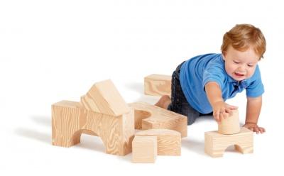 Velké pěnové kostky dřevěný dezén 32 ks