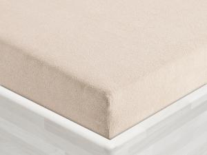 Froté prostěradlo k matraci dřevěného lehátka tmavě béžové, guma po obvodu, č.20