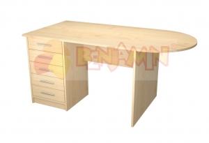 Učit. stůl velký se zásuvkami př., zaoblení vpravo, buk