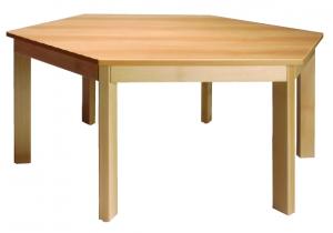 Stůl šestiúhelník průměr 117/58 deska barevná