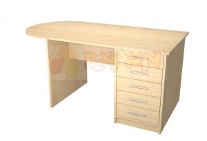 Učitelský stůl velký se zásuvkami, zaoblení vlevo, BUK