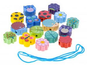 Navlékací korálky dřevěné 17 dílků v krabičce