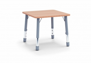 Stůl čtverec 80 x 80 / v. 59 - 71 cm, deska barevná